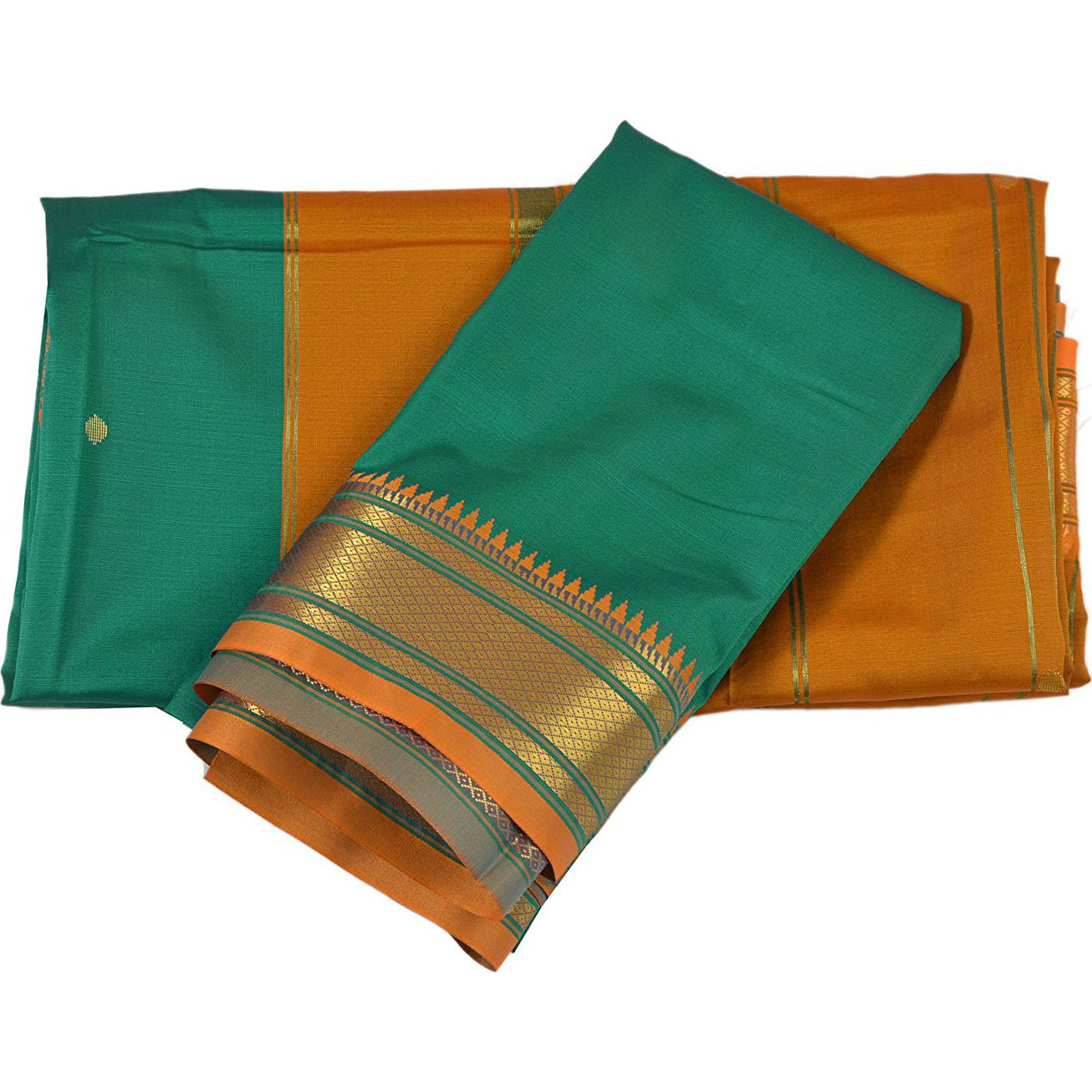 Skirts 'N Scarves Women'S Woven Indian Art Silk Sari With Blouse Piece (Green): Clothing