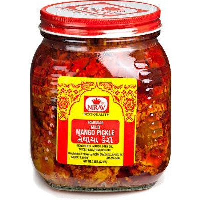 Nirav Mild Mango Pickle (2 lbs bottle)