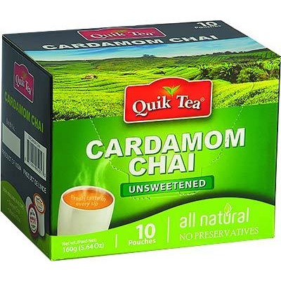 Quik Tea - Instant Cardamom Chai (10 pack) - Unsweetened
