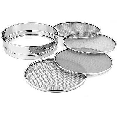 Sieve with 4 Interchangeable Mesh Screens, 7.5-inch