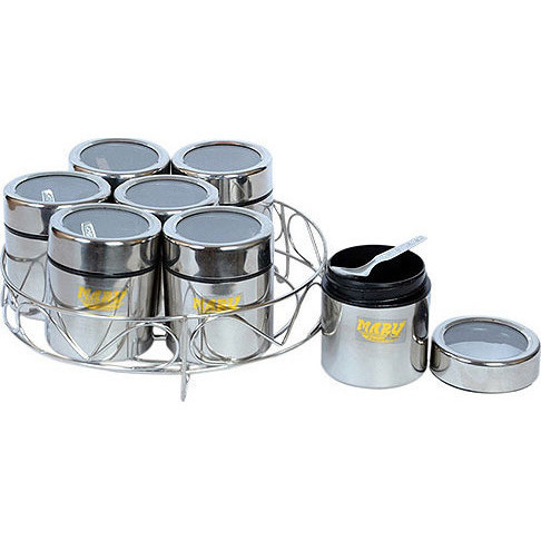 "Spice Container Stand with 7 Individual See-Through Containers (Small - 7 1/2"")"