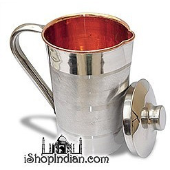 Copper Jug with Lid Outside Stainless Steel