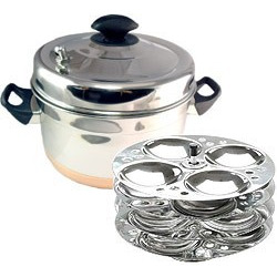 Copper Bottom/Stainless Steel Idli Cooker (Steamer) With Idli Rack
