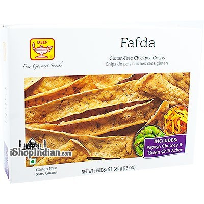 Deep Fafda with Chutney & Pickle - Gluten-Free Chickpea Crisps