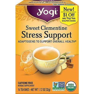 Yogi Sweet Clementine Stress Support (Adaptogens To Support Overall Health) (16 tea bags)