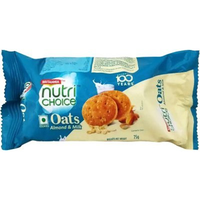 Britannia Nutrichoice Oats Cookies - Almond & Milk (75 gm pack)
