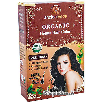 Ancient Veda Organic Henna Hair Color - Dark Brown (5.30 oz box)