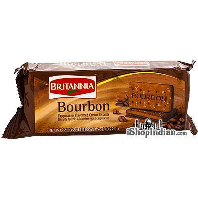 Britannia Bourbon Cappuccino Flavored Cream Biscuits- 100 gms (4-Packs) (4 x 100 gm packs)