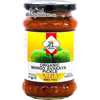 24 Mantra Organic Mango Avakaya Pickle without Garlic (10.58 oz jar)
