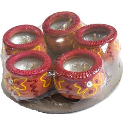 Gujarathi Matki Diya with Wax - 5 Pack