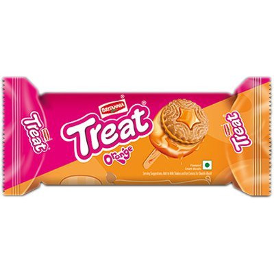 Britannia Treat Biscuits - Orange Cream Flavor (125 gm pack)