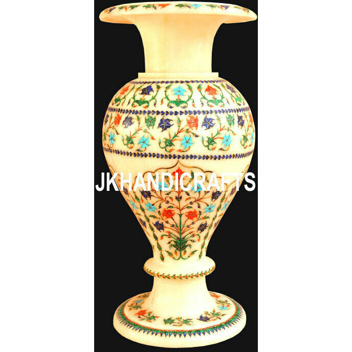 15   Marble Flower Vase Pot Semi Precious Stones Marquetry Inlay Home Decor Gifts