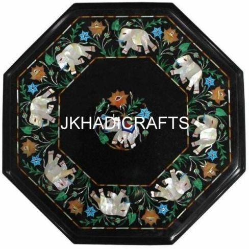 15   Black Marble Coffee Center Table Top Elephant Inlay Mosaic Home Decor