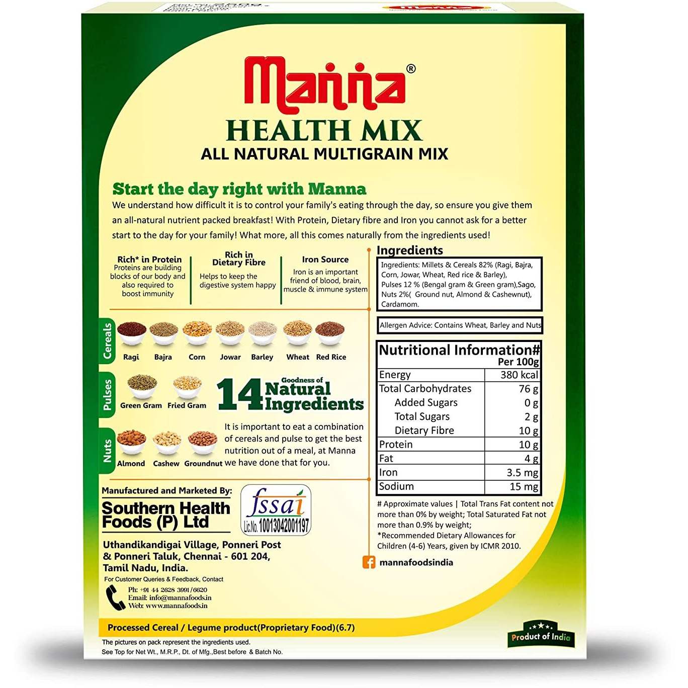 Manna  Health Mix Big - 1 Kg [Get Free Vadilal Badam Drink]