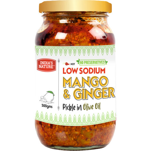 India's Nature Low Sodium Mango & Ginger Pickle In Olive Oil - 500 Gm