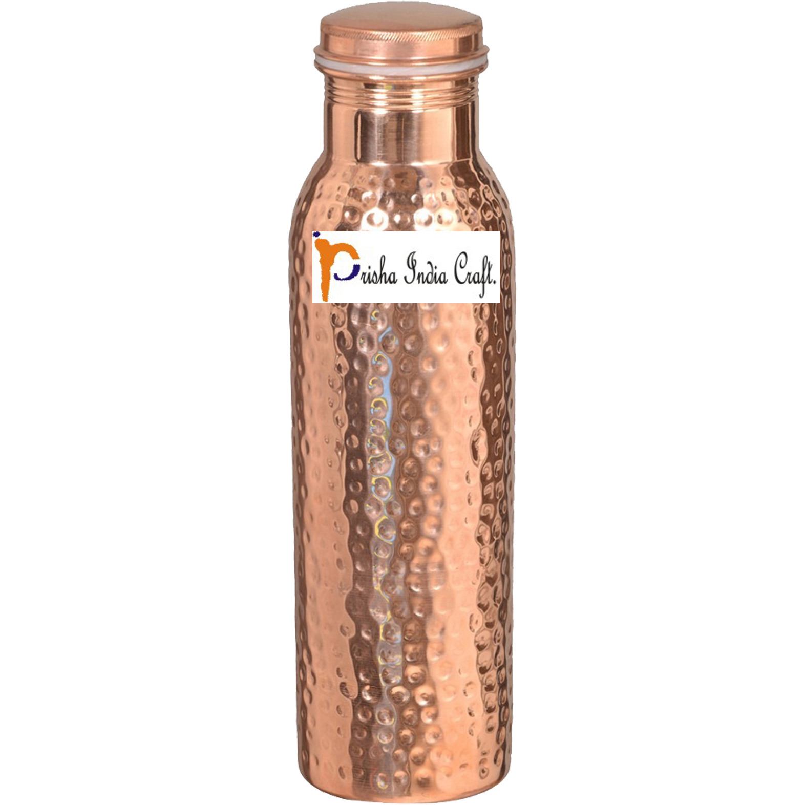 1000ml / 33.81oz - Prisha India Craft B. - Hammered Copper Water Bottle | Joint Free, Best Quality Water Bottle - Handmade Christmas Gift Item