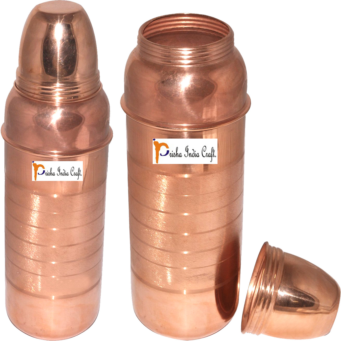Prisha India Craft B. 800 ML - SET OF 2 - Pure Copper Water Bottle New Design Copper Water Pitcher for the Refrigerator - Sports water Bottles - Christmas Gift with Bottle Cleaning Brush