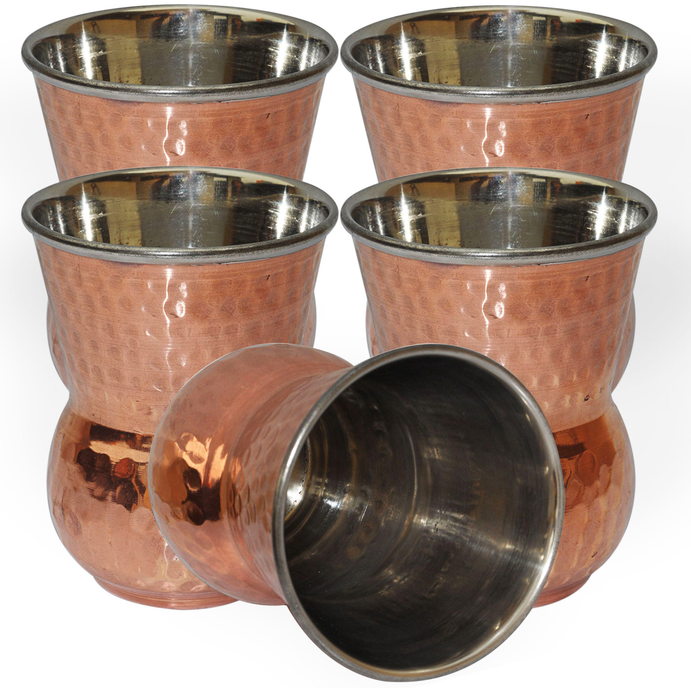 Set of 5 - Prisha India Craft B. Copper Muglai Matka Glass Inside Stainless Steel Hammered Style Drinkware Tumbler Handmade Copper Cups - Traveller's Copper Mug