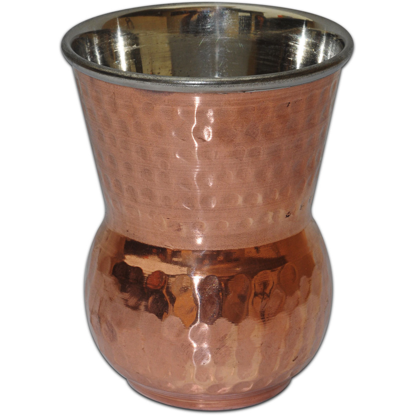 Set of 6 - Prisha India Craft B. Copper Muglai Matka Glass Inside Stainless Steel Hammered Style Drinkware Tumbler Handmade Copper Cups - Traveller's Copper Mug