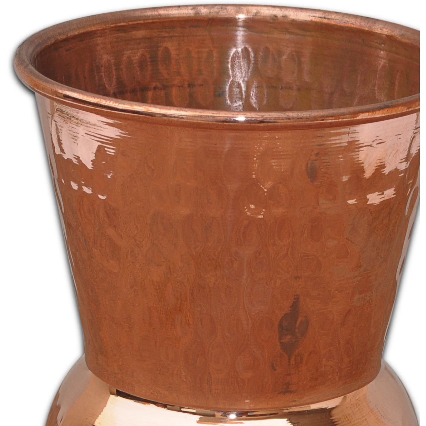 Set of 3 - Prisha India Craft B. Copper Muglai Matka Glass Hammered Style Drinkware Tumbler Handmade Copper Cups - Traveller's Copper Mug for Ayurveda Benefits