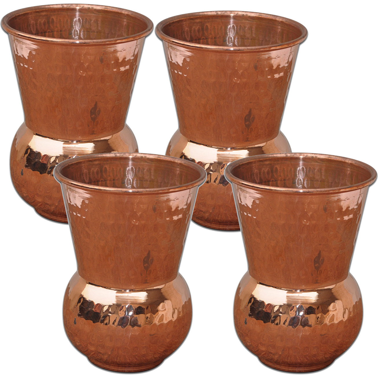 Set of 4 - Prisha India Craft B. Copper Muglai Matka Glass Hammered Style Drinkware Tumbler Handmade Copper Cups - Traveller's Copper Mug for Ayurveda Benefits
