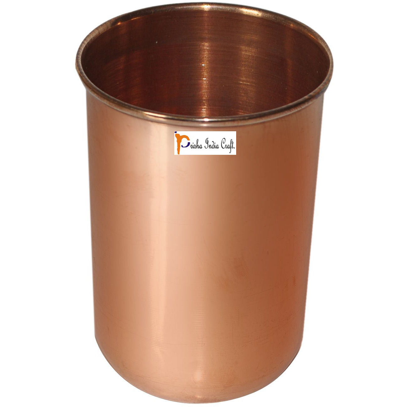 Set of 6 - Prisha India Craft B. Pure Copper Glass Cup for Water - Handmade Water Glasses - Traveller's Copper Mug for Ayurveda Benefits