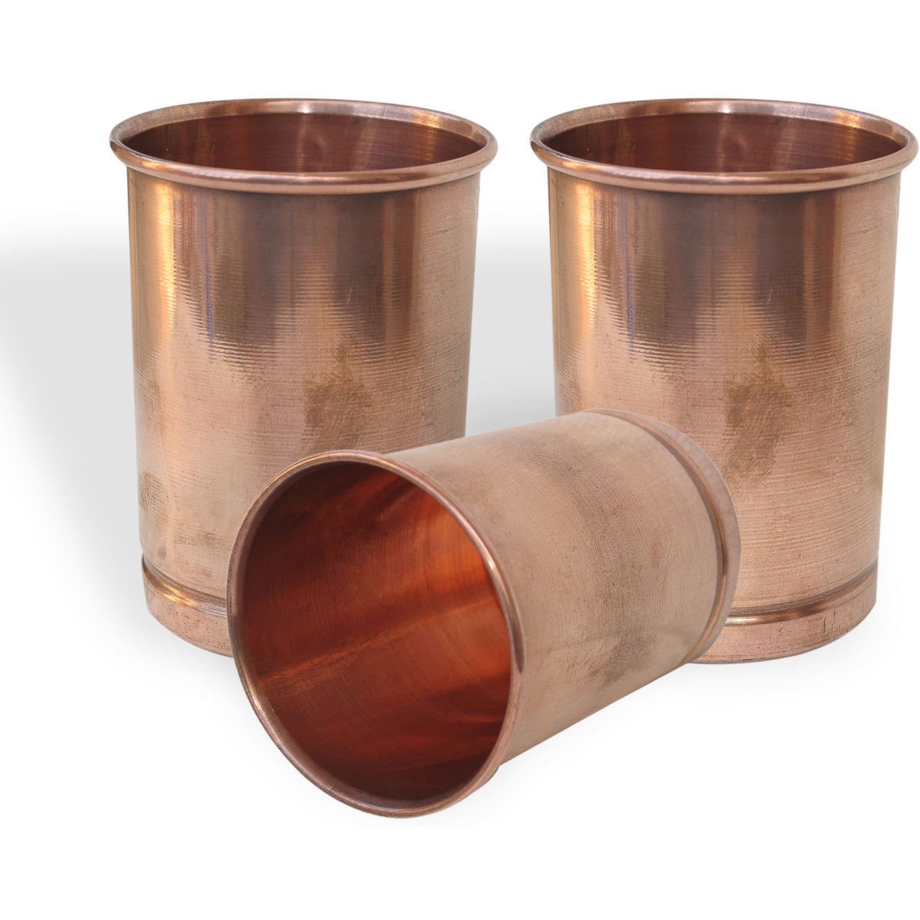 Set of 3 - Prisha India Craft B. Pure Copper Glass Cup for Water - Handmade Water Glasses - Traveller's Copper Mug for Ayurveda Benefits