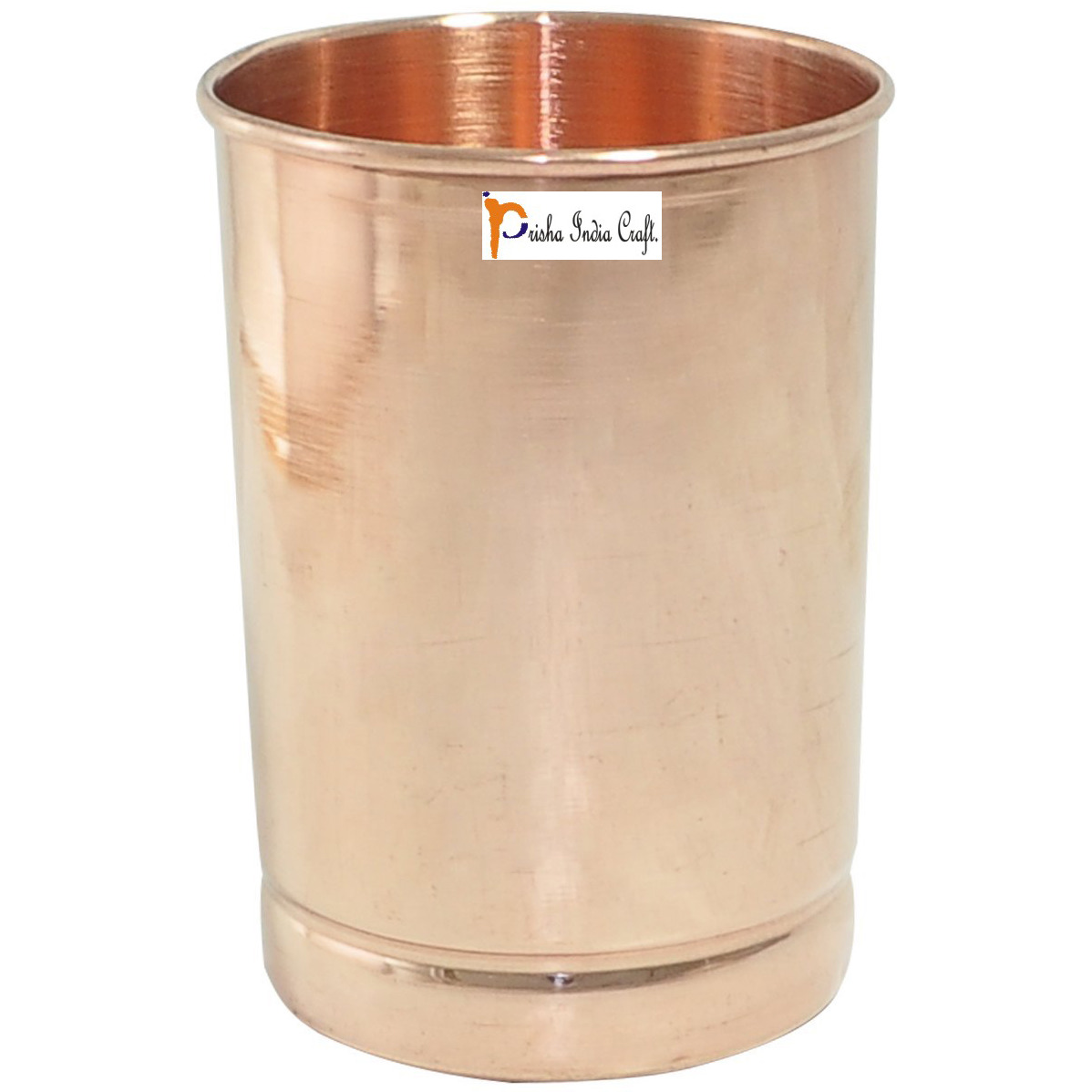 Set of 5 - Prisha India Craft B. Pure Copper Glass Cup for Water - Handmade Water Glasses - Traveller's Copper Mug for Ayurveda Benefits