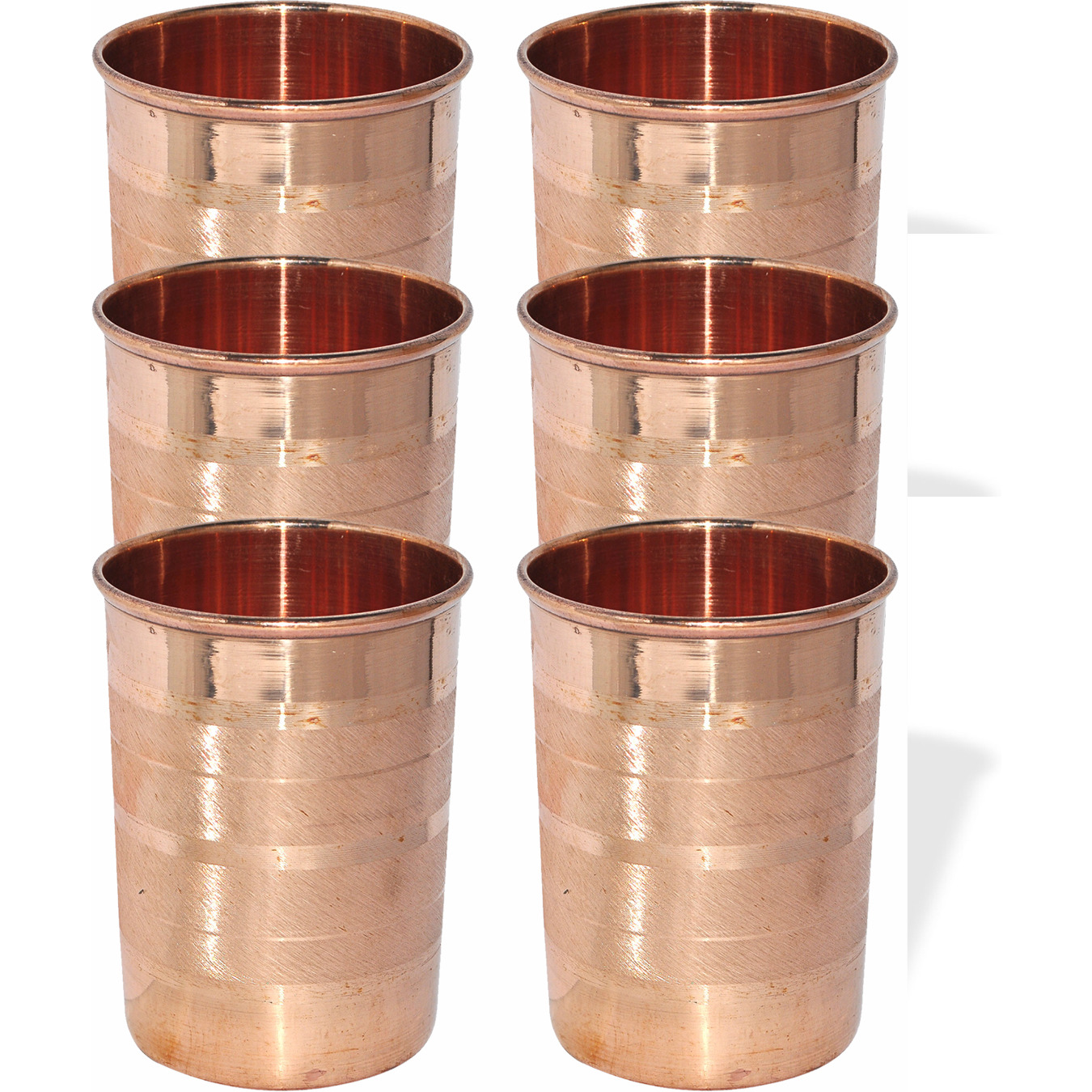 Set of 6 - Prisha India Craft B. Copper Cup Water Tumbler - Handmade Water Glasses - Traveller's Copper Mug for Ayurveda Benefits