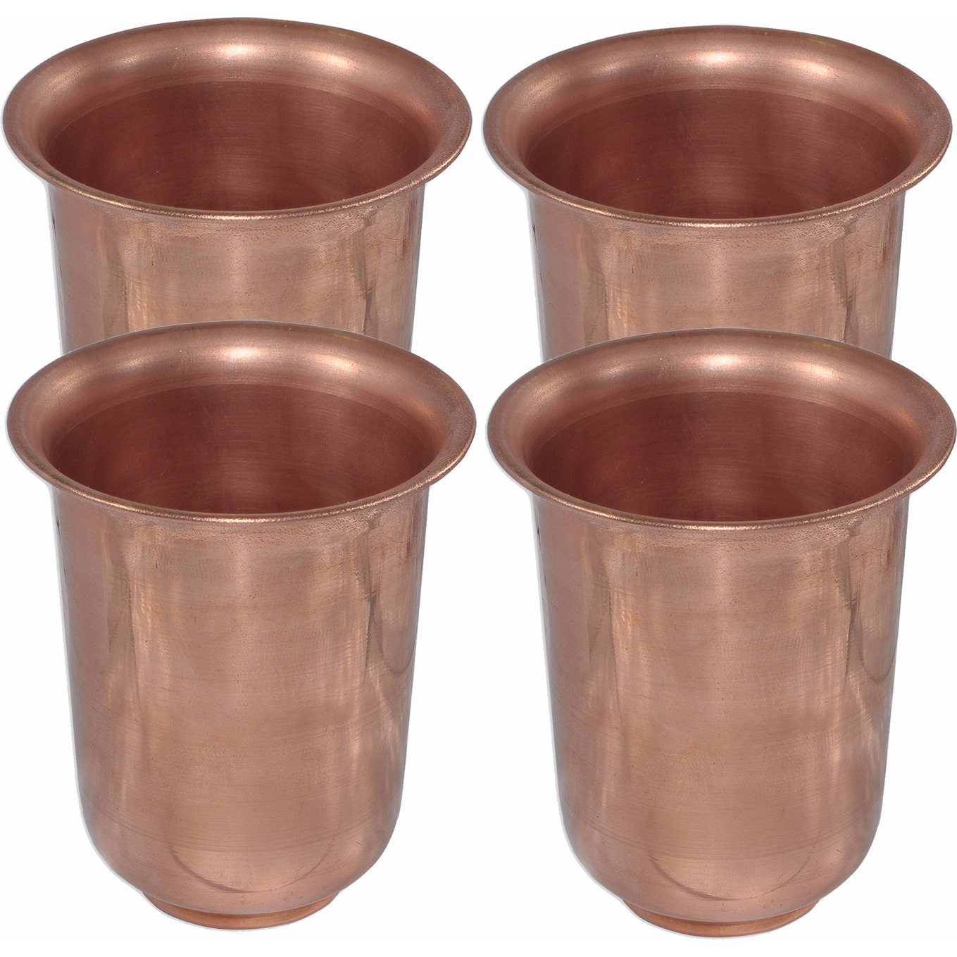 Set of 4 - Prisha India Craft B. Handmade Water Glass Copper Tumbler | Traveller's Copper Cup