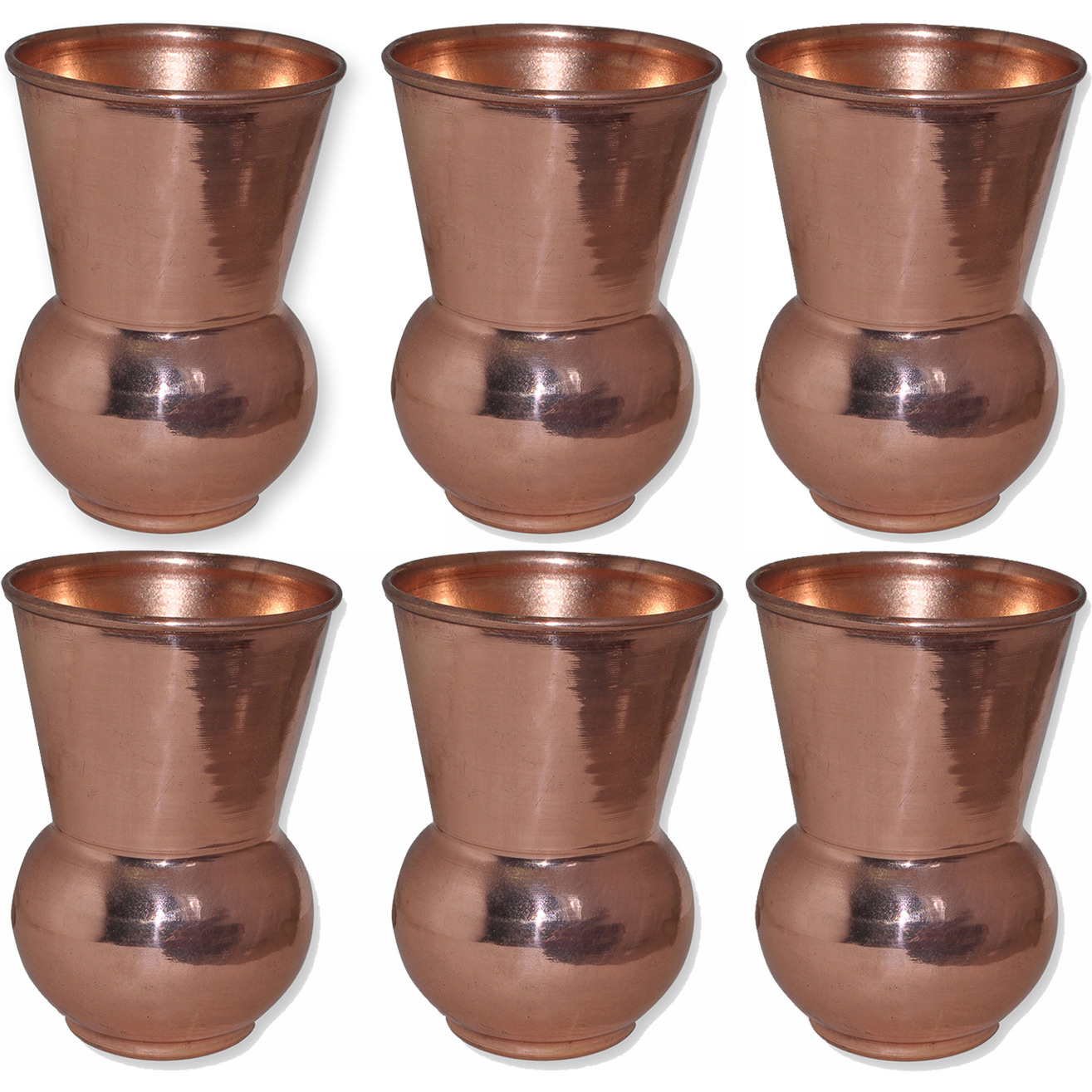 Set of 6 - Prisha India Craft B. Copper Muglai Matka Glass Drinkware Tumbler Handmade Copper Cup - Traveller's Copper Mug