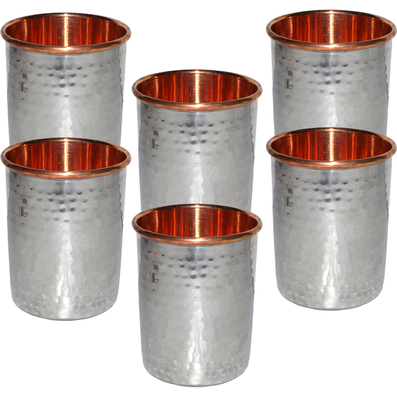Set of 6 - Prisha India Craft B. Handmade Water Glass Copper Tumbler  Inside Stainless Steel | Traveller's Copper Cup