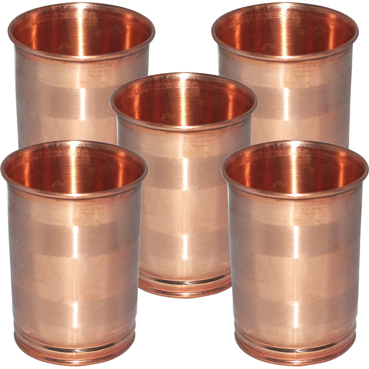 Set of 5 - Prisha India Craft B. Drinking Copper Glass Tumbler Handmade Water Glasses - Traveller's Copper Mug for Ayurveda Benefits - Copper Cup