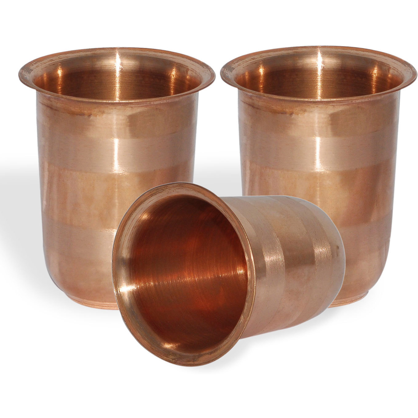 Set of 3 - Prisha India Craft B. Drinking Copper Glass Tumbler Handmade Water Glasses - Copper Cup - Traveller's Copper Mug for Ayurveda Benefits