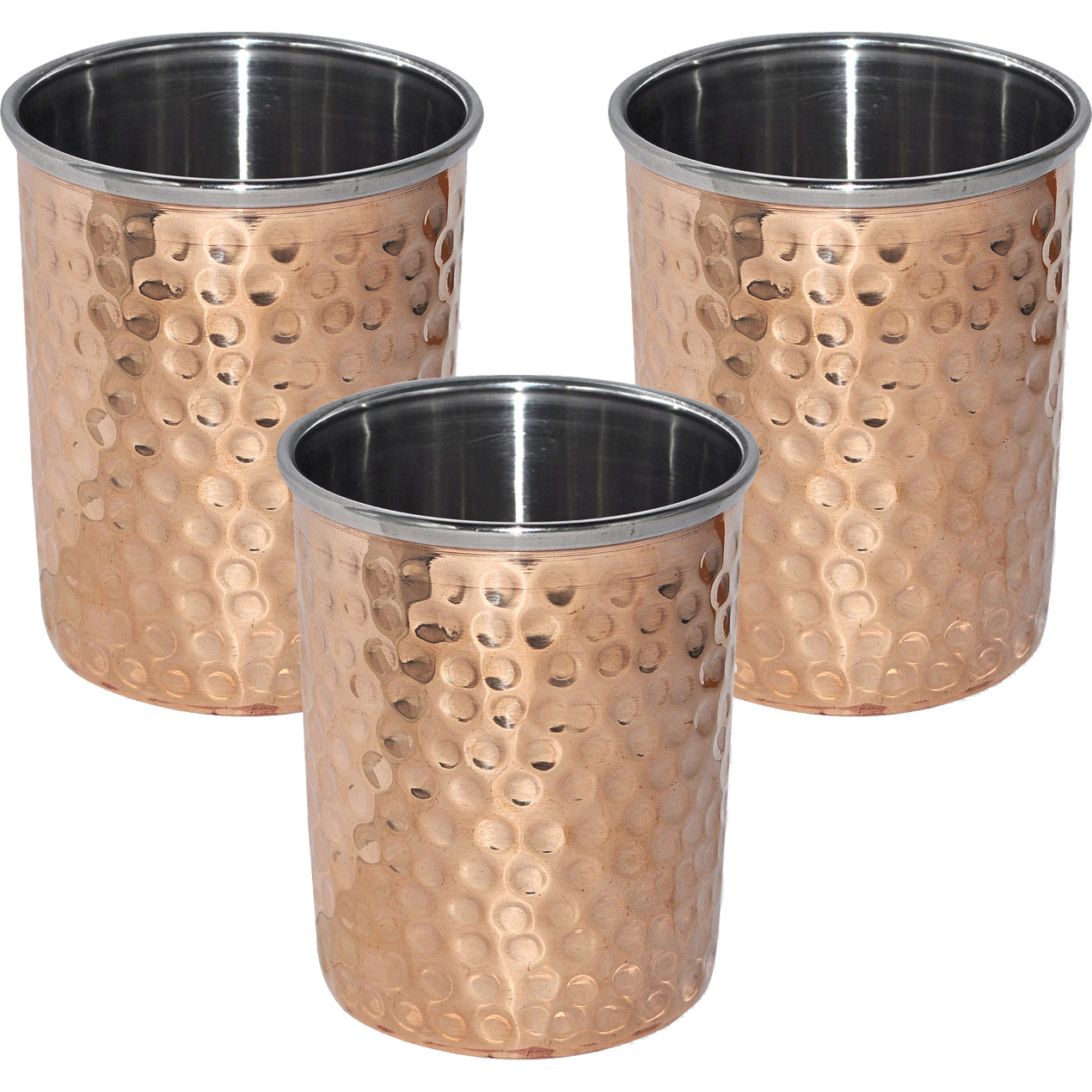 Set of 3 - Prisha India Craft B. Copper Cup Water Tumbler - Handmade Water Glasses - Traveller's Copper Mug for Ayurveda Benefits