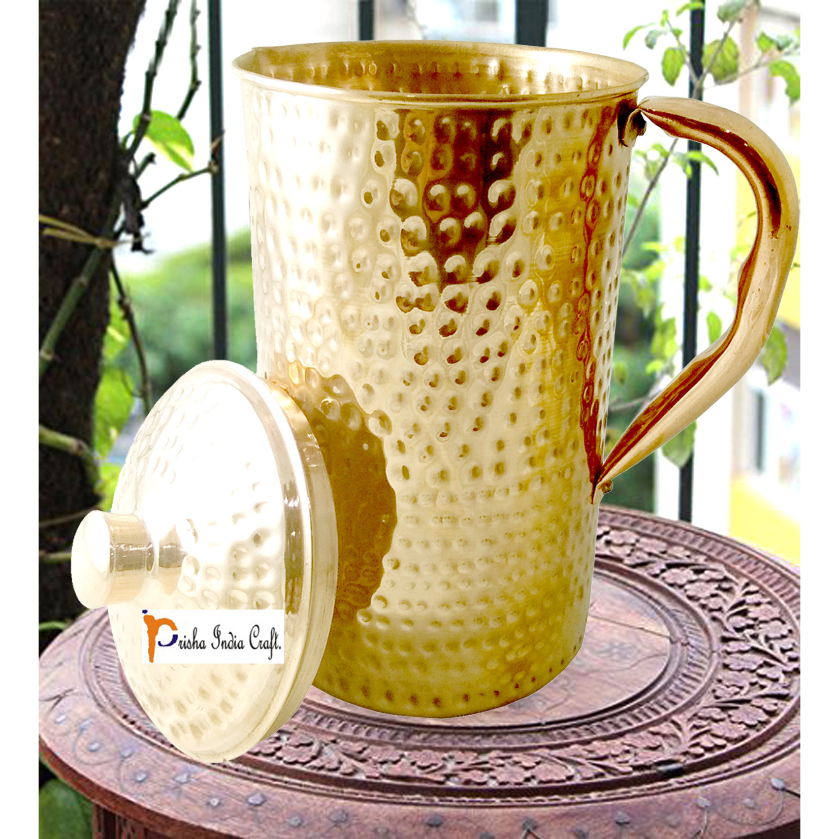 Prisha India Craft New Improved Hammered Copper Jug Pitcher, Drinkware & Serveware, Yoga, 1450 ML | 49 Ounce