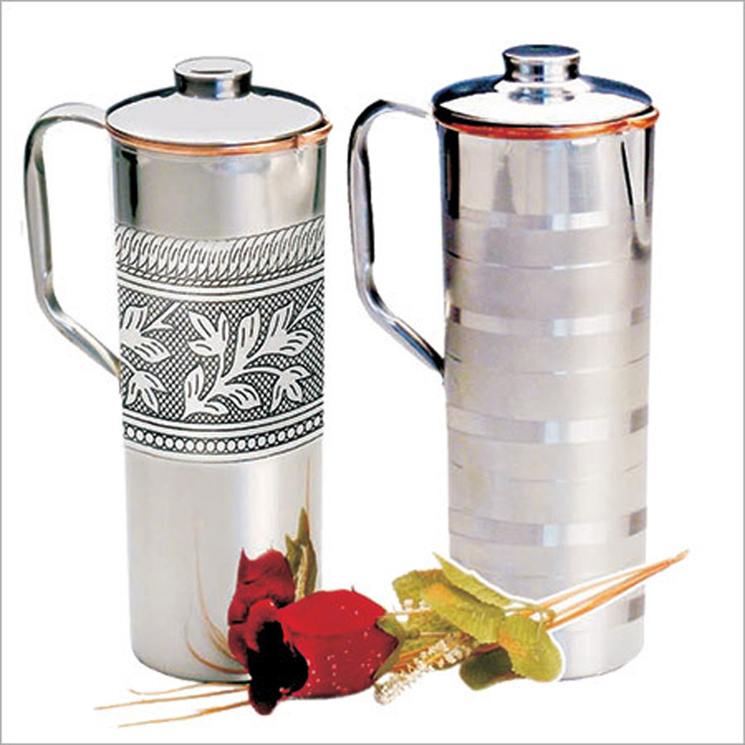 Copper Fridge Bottle Set Luxury Embossed Design Drinkware Tableware jug for Ayurveda Healing Capacity 0.9 L India Copper Jug (Set of 2) - CHRISTMAS GIFT by Prisha India Craft B.