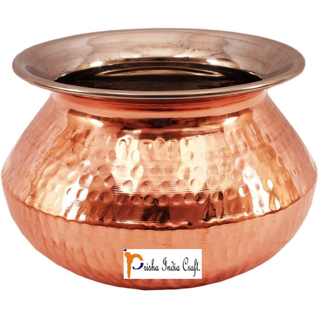 Prisha India Craft B. High Quality Handmade Steel Copper Casserole - Copper Serving Handi Bowl - Copper Serveware Dishes Bowl Dia - 6.5  X Height - 4.50  - Christmas Gift
