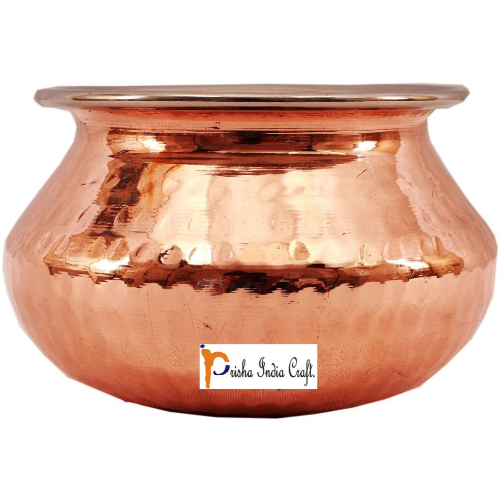 Set of 4 Prisha India Craft B. High Quality Handmade Steel Copper Casserole - Copper Serving Handi Bowl - Copper Serveware Dishes Bowl Dia - 6.5  X Height - 4.50  - Christmas Gift