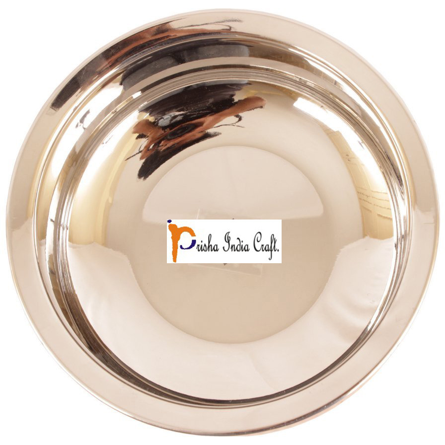 Set of 3 Prisha India Craft B. High Quality Handmade Steel Copper Casserole - Copper Serving Handi Bowl - Copper Serveware Dishes Bowl Dia - 5.00  X Height - 2.00  - Christmas Gift