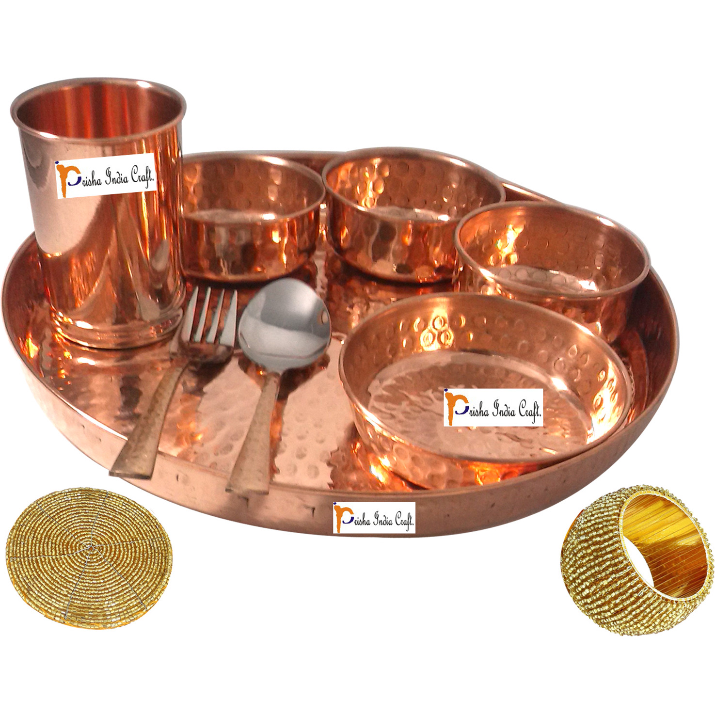 Set of 3 Prisha India Craft B. Handmade Indian Dinnerware Pure Copper Thali Set Dia 12  Traditional Dinner Set of Plate, Bowl, Spoons, Glass with Napkin ring and Coaster - Christmas Gift