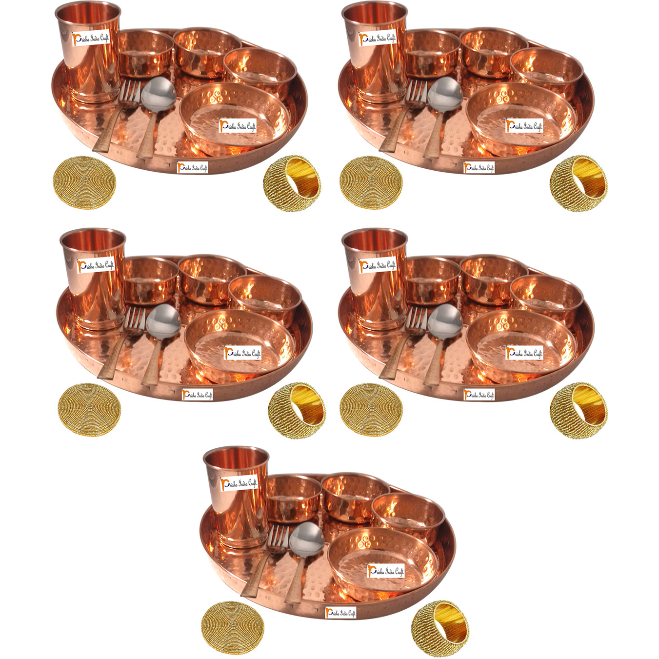 Set of 5 Prisha India Craft B. Handmade Indian Dinnerware Pure Copper Thali Set Dia 12  Traditional Dinner Set of Plate, Bowl, Spoons, Glass with Napkin ring and Coaster - Christmas Gift