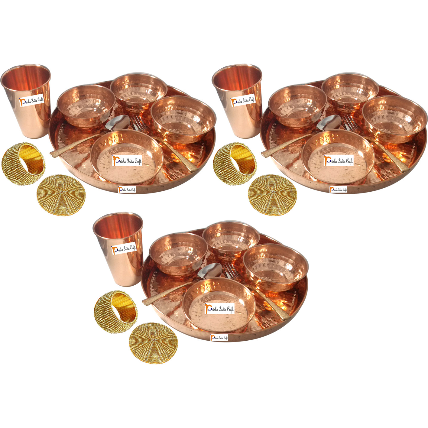 Set of 3 Prisha India Craft B. Dinnerware Pure Copper Thali Set Dia 12  Traditional Dinner Set of Plate, Bowl, Spoons, Glass with Napkin ring and Coaster - Christmas Gift