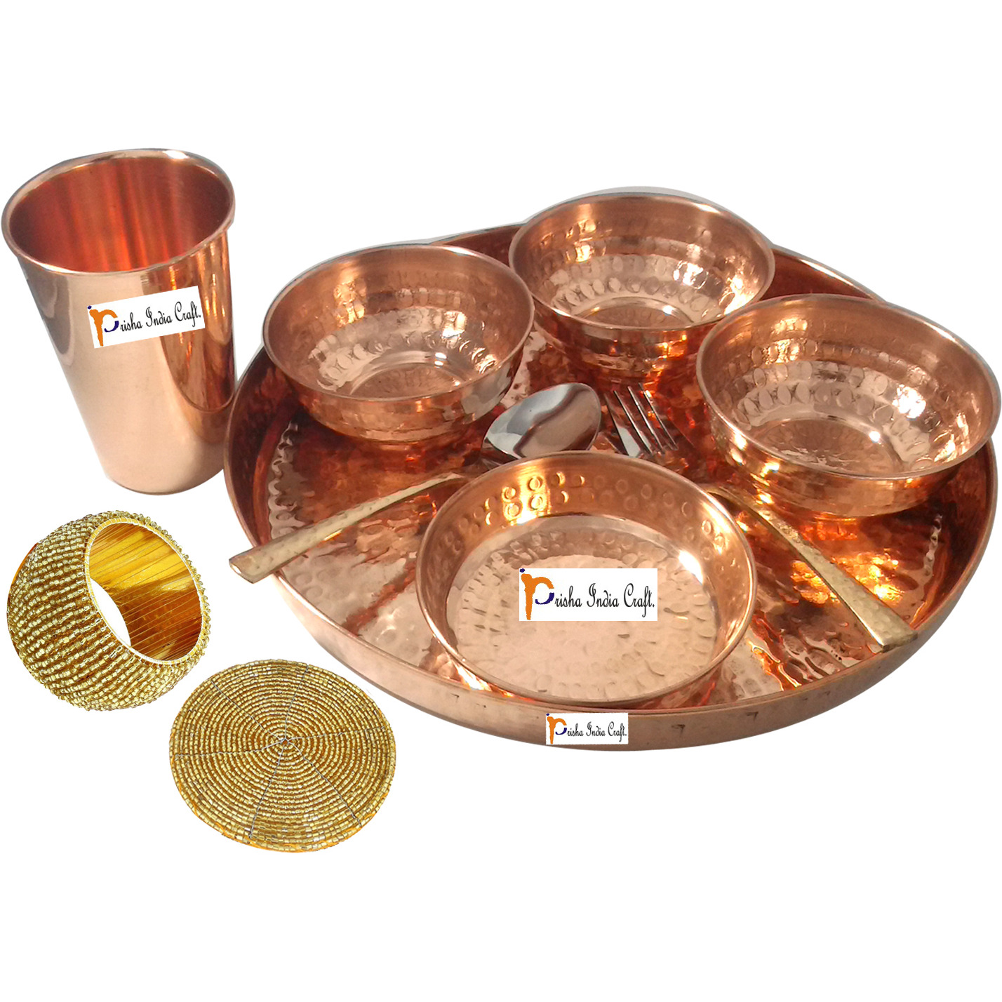 Set of 6 Prisha India Craft B. Dinnerware Pure Copper Thali Set Dia 12  Traditional Dinner Set of Plate, Bowl, Spoons, Glass with Napkin ring and Coaster - Christmas Gift