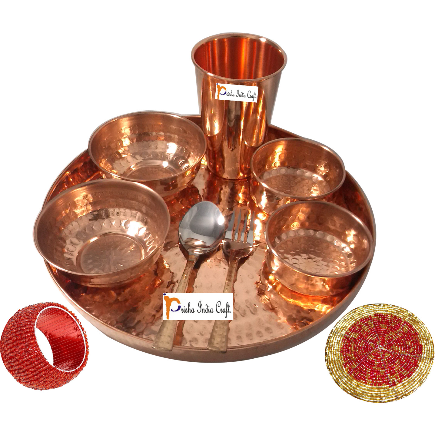 Set of 4 Prisha India Craft B. Indian Dinnerware Pure Copper Dinner Set Dia 12  Traditional Thali Set Dinner Set of Plate, Bowl, Spoons, Glass with Napkin ring and Coaster - Christmas Gift