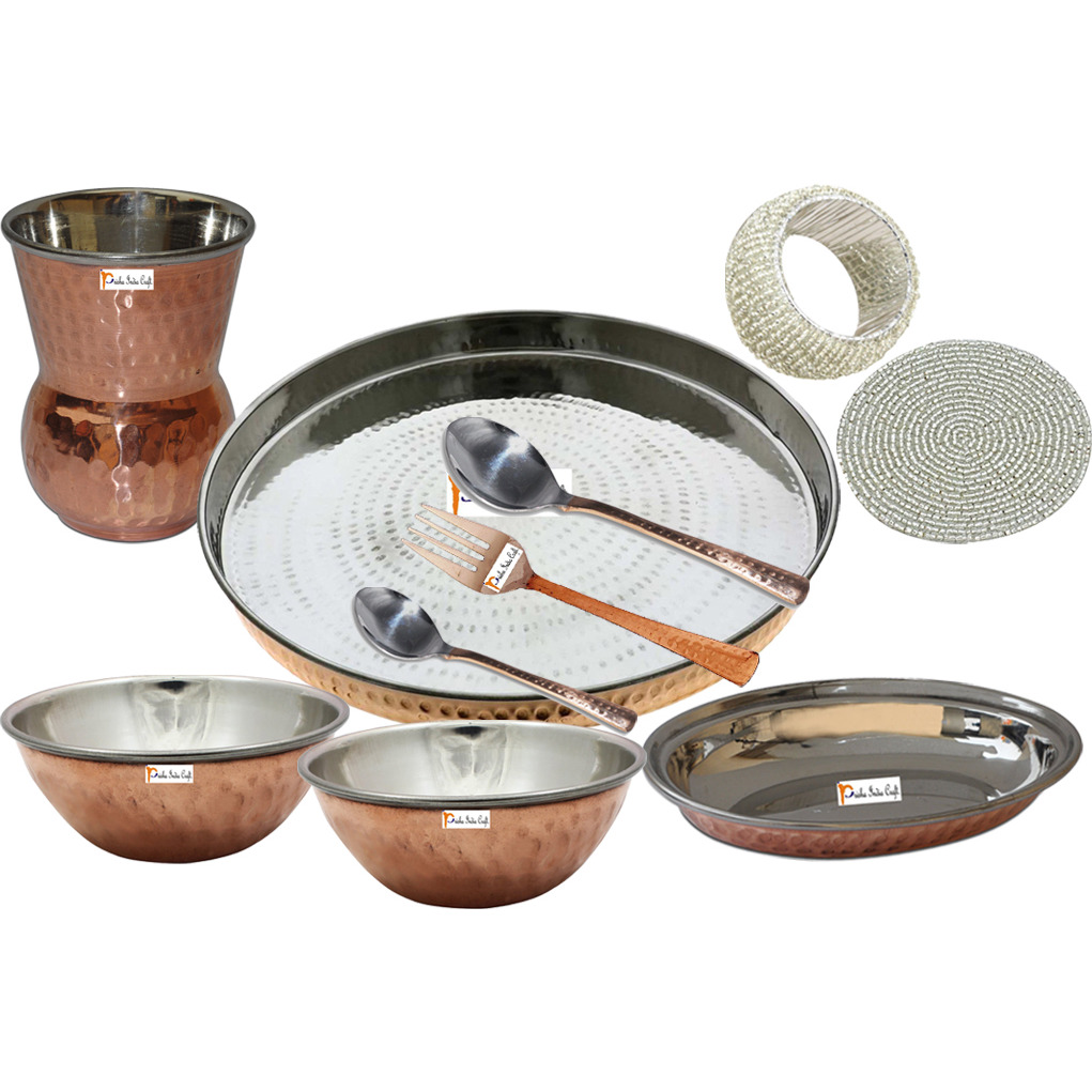 Set of 2 Prisha India Craft B. Indian Dinnerware Steel Copper Thali Set Dia 13  Traditional Dinner Set of Plate, Bowl, Spoons, Glass with Napkin ring and Coaster - Christmas Gift