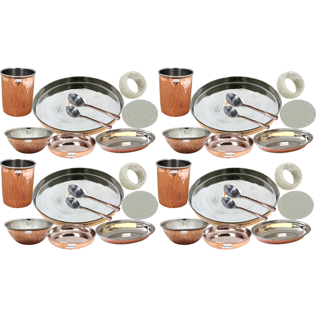 Set of 4 Prisha India Craft B. Handmade Indian Dinnerware Steel Copper Thali Set Dia 13  Traditional Dinner Set of Plate, Bowl, Spoons, Glass with Napkin ring and Coaster - Christmas Gift