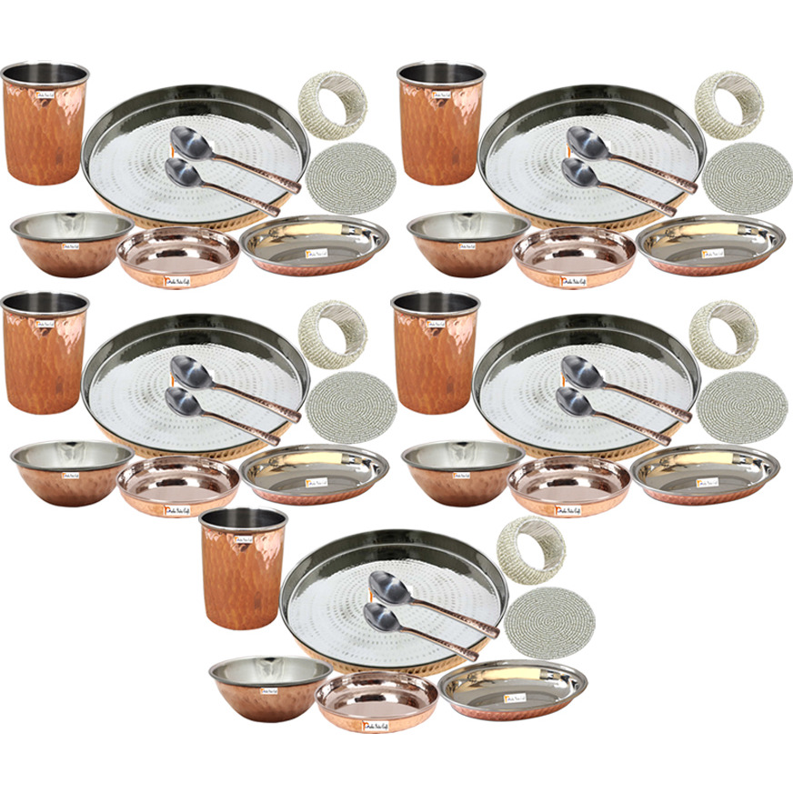Set of 5 Prisha India Craft B. Handmade Indian Dinnerware Steel Copper Thali Set Dia 13  Traditional Dinner Set of Plate, Bowl, Spoons, Glass with Napkin ring and Coaster - Christmas Gift