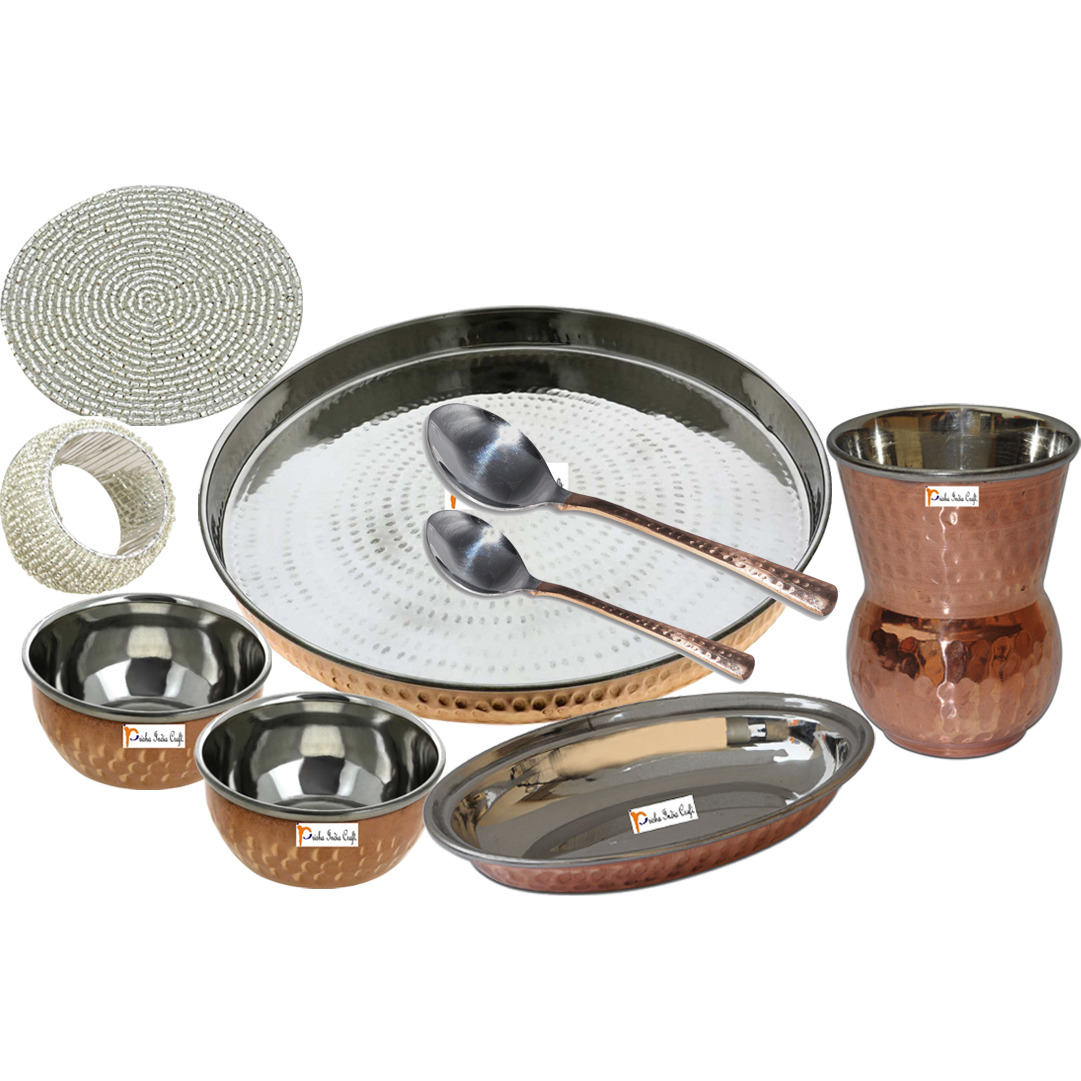 Set of 3 Prisha India Craft B. Dinnerware Steel Copper Thali Set Dia 13  Traditional Dinner Set of Plate, Bowl, Spoons, Glass with Napkin ring and Coaster - Christmas Gift
