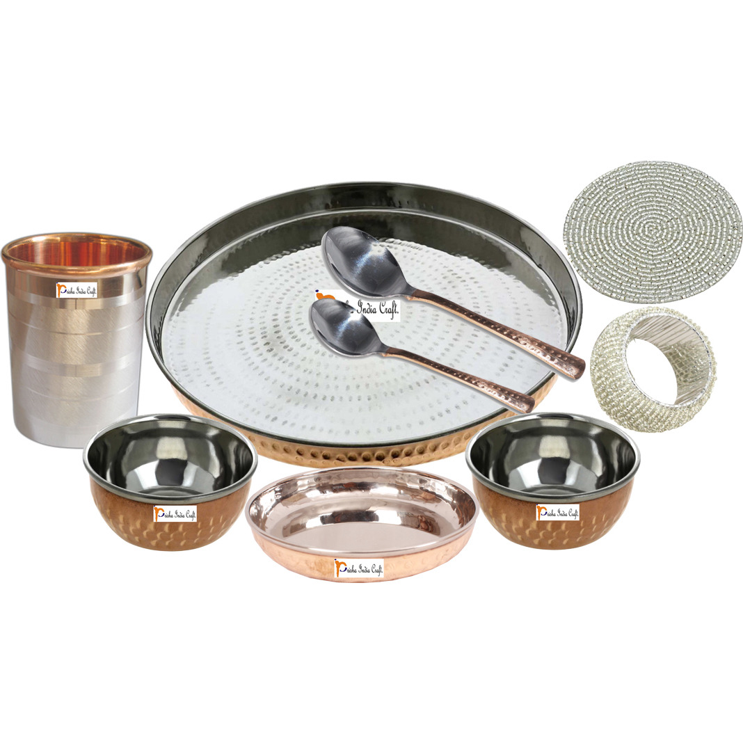 Set of 6 Prisha India Craft B. Indian Dinnerware Steel Copper Dinner Set Dia 13  Traditional Thali Set Dinner Set of Plate, Bowl, Spoons, Glass with Napkin ring and Coaster - Christmas Gift